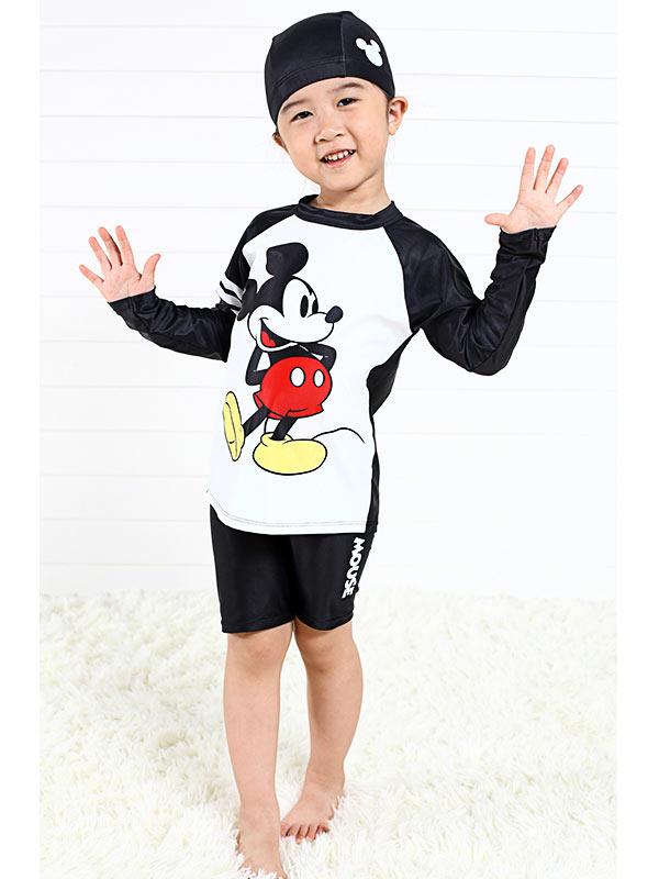 디즈니 미키마우스 래쉬가드 수영복 세트 (블랙) - 키티야, 38,000원, 시즌/이벤트의류잡화, 수영복
